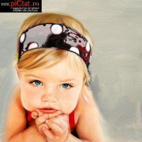 Tablouri pictate: Portret de fetita balaie portrete pictate in ulei pe panza