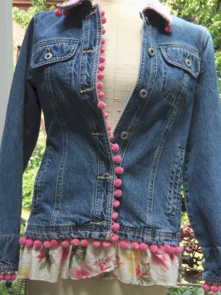 Upcycled VALENTINE Jean Jacket with Pink by UPcycledAndVINtage
