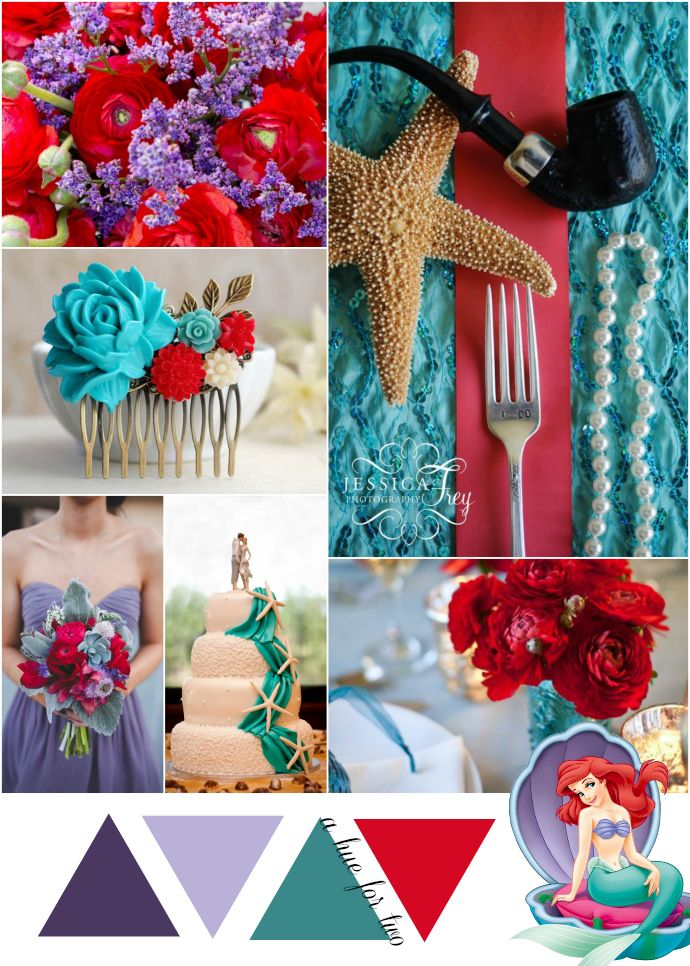 Purple, Teal and Red Wedding Color Scheme - Wedding Colours - The Little Mermaid - Ariel - Disney Wedding - A Hue For Two | www.ahuefortwo.com