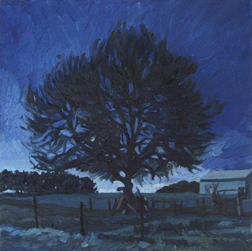 Winter Night Tree, Oil on canvas, 2013