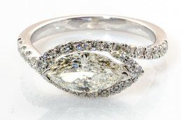 ♥ side set marquis diamond engagement ring