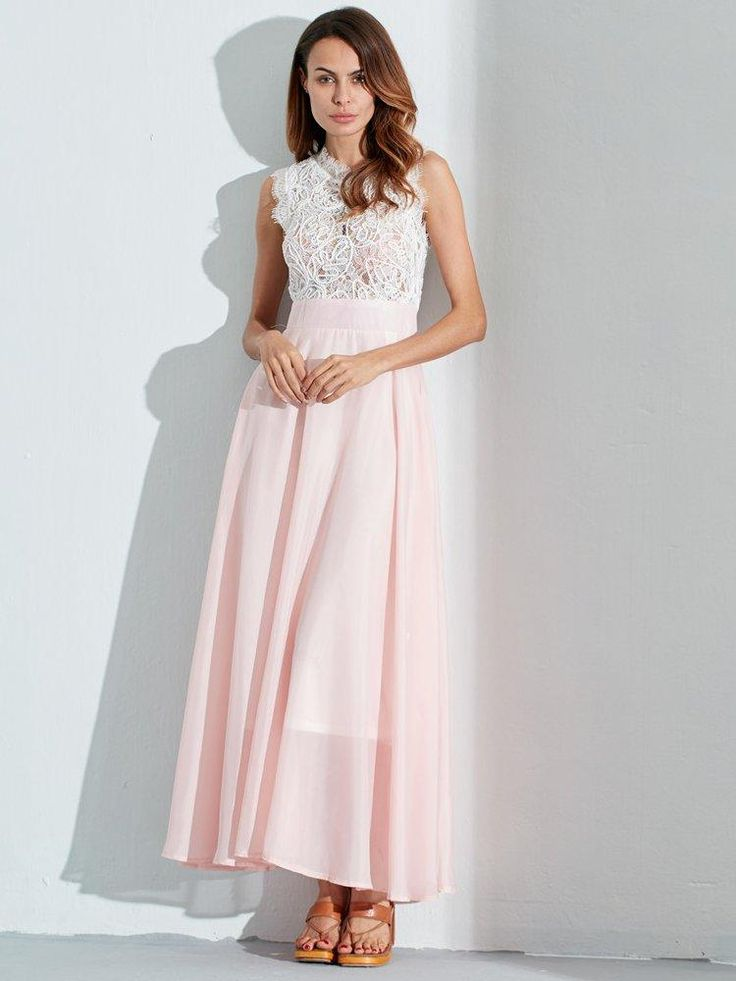 Celmia Sexy Women Hollow Lace with Lining Sleeveless Long Dresses at Banggood
