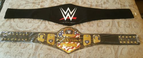 WWE UNITED STATES CHAMPIONSHIP REPLICA TITLE BELT. METAL PLATES LEATHER STRAPS.