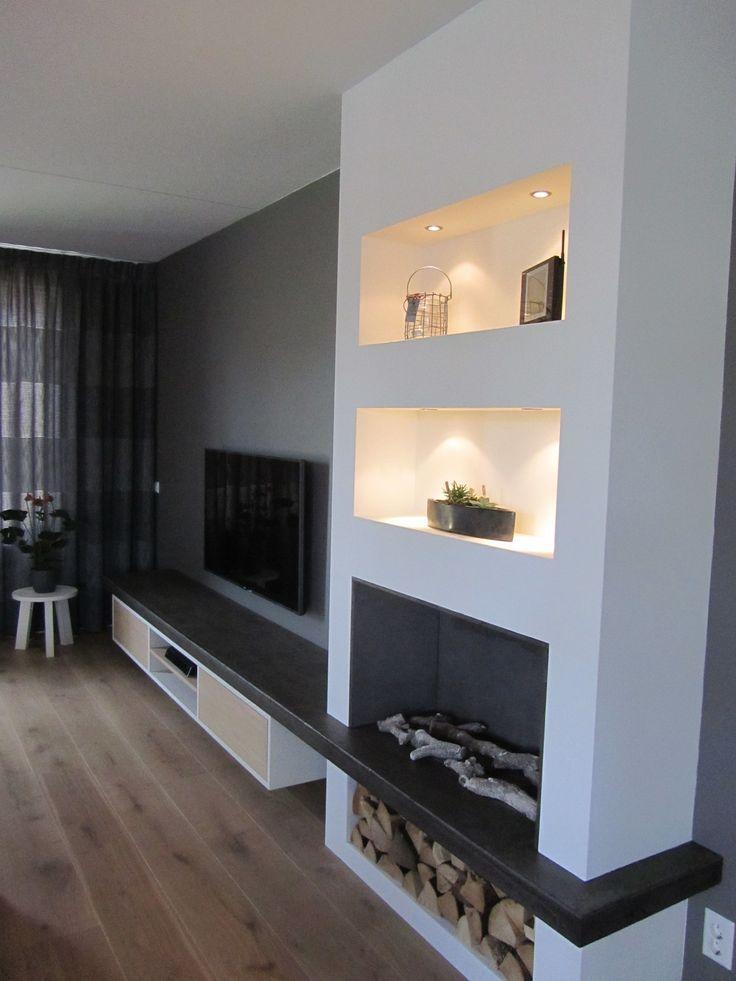 19+ gemütliche Ecke Kamin Design-Ideen im Wohnzim…