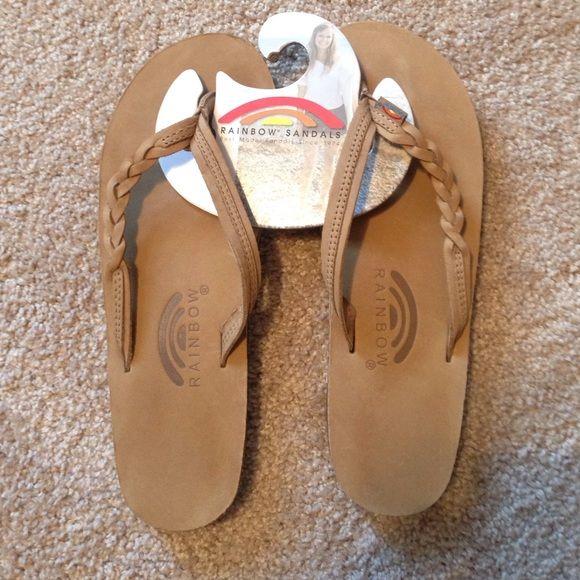 Rainbow Leather Braided Flip Flop Sandals 6-7.5 BRAND NEW Rainbow Leather Flip Flop Sandals: Braided Strap Rainbow Shoes Sandals