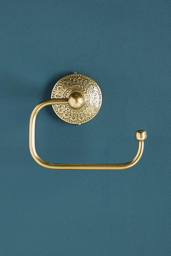 Gemma Toilet Paper Holder By Anthropologie In Silver Hardware Hardware Brass Bathroom Hardware
