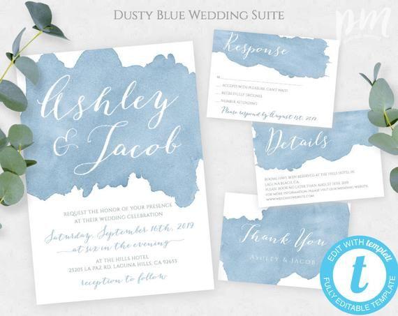 Dusty Blue Watercolor Wedding Invitation Template Set Editable