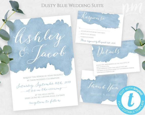 Dusty Blue Watercolor Wedding Invitation Template Set Editable