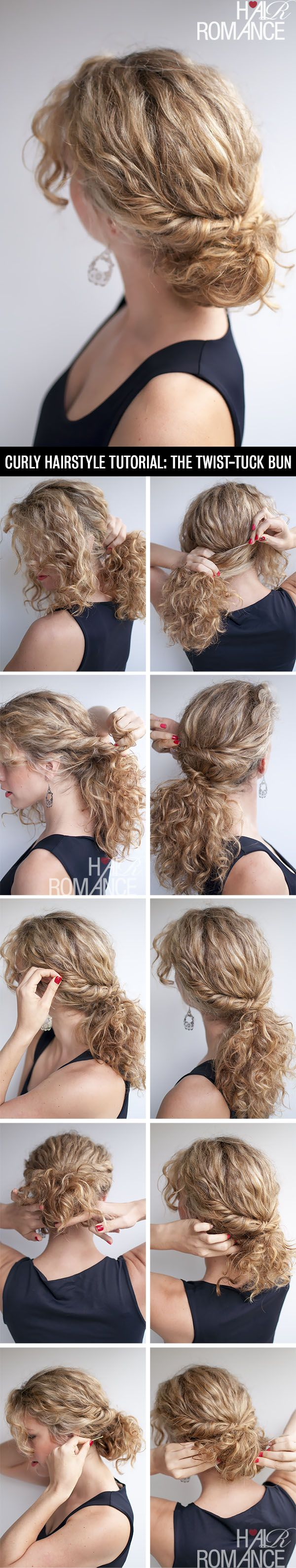 Hair Romance - curly hairstyle tutorial - the twist-tuck bun