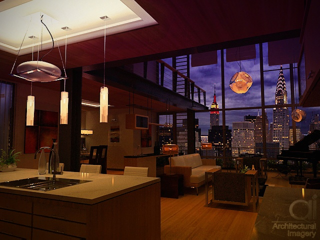 Contemporary Manhattan Loft Living Night Ah 205
