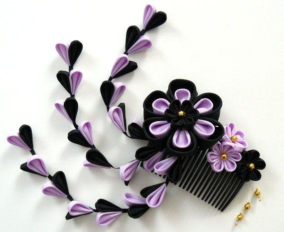 Kanzashi stof bloem haar kam. Black en de orchidee bloem haar kam. Haar Japanse stuk. Geisha van haar kam.