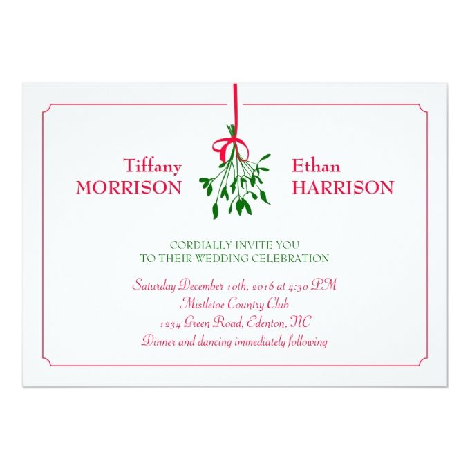 2145 best christmas wedding invitations images on pinterest christmas mistletoe wedding invitation stopboris Gallery