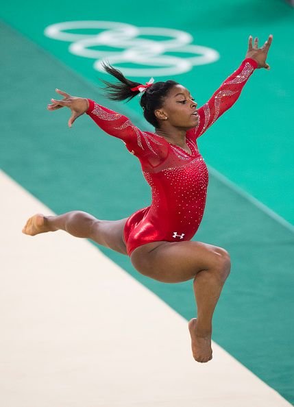 #RIO2016 US gymnast Gabby Douglas practices her floor routine on Thursday August 4 during a training session at the Rio Olympic Arena in Rio de Janeiro Brazil