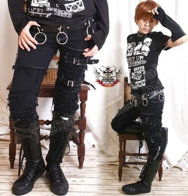 Punk EMO Distressed Buckle Fray Patch Stretch Cigarette Slim Denim Pants S/M/L in Clothing, Shoes & Accessories, Women's Clothing, Jeans | eBay!