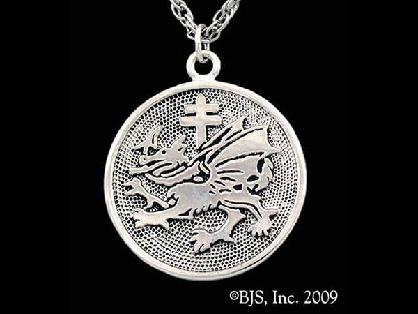 Our interpretation of the Order of the Dragon symbol worn by Vlad the Impaler.  Dracula's Order of The Dragon Pendant is available in sterling silver, 14k gold and 14k white gold.