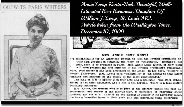 """Amazing article and photo from """"The Washington Times, December 10, 1909. Page 3, Image 3"""". Annie Lemp Konta, the eldest daughter of William J. Lemp, famous brewing family, St. Louis, MO."""
