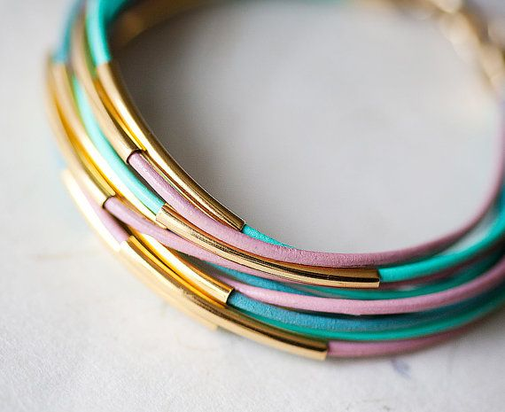 Add personal touches to your flowy Spring pieces like these Great Pastel colors Leather Bracelets--with 12 Golden tubes by pardes israel: Pard Israel, 12 Golden, Candy Colors, Colors Leather, Pastel Colors, Etsy Finding, Bracelets Bangles, Candycolor Wristlets, Leather Bracelets