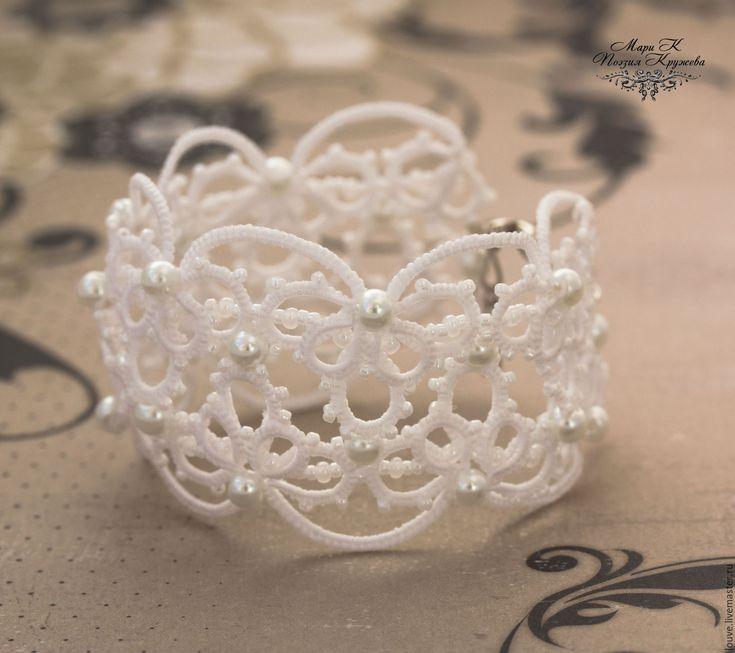 Купить Широкий кружевной браслет белый черный фриволите анкарс - белый, свадьба…