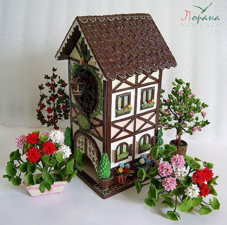 """Купить Чайный домик """"Фахверковый домик"""" - чайный домик, немецкий домик, полимерная глина"""
