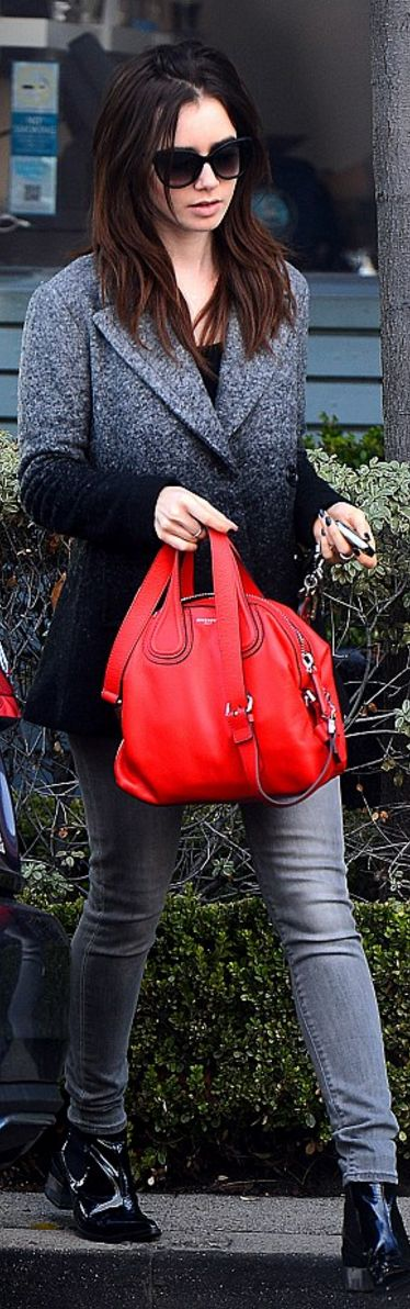 Lily Collins in Coat – Armani Exchange  Purse – Givenchy  Key Chain – Prada