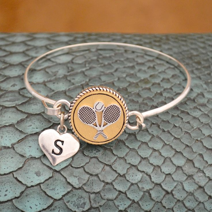 Custom Initial Tennis Wire Bangle Bracelet, $12.98// I love this two-tone bracelet that I can personalize with my initial!