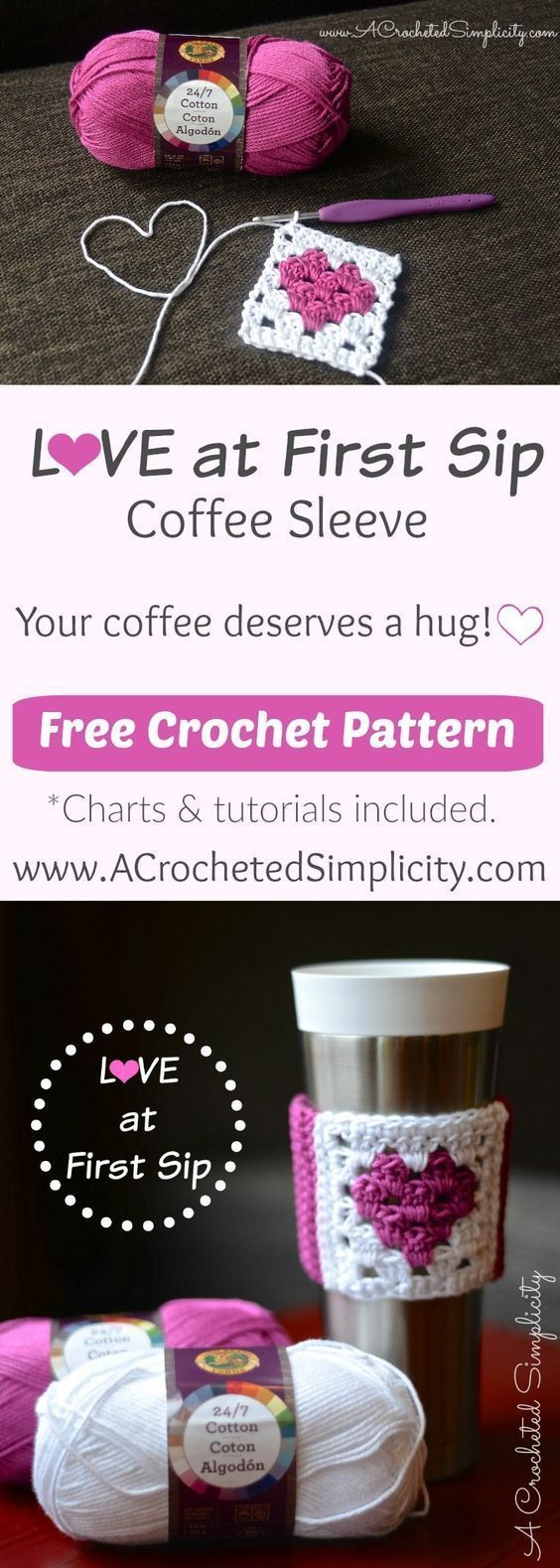 Free Crochet Pattern - Love at First Sip Coffee Sleeve by A Crocheted Simplicity #CrochetValentines