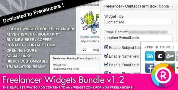 Freelancer Widgets Bundle   http://codecanyon.net/item/freelancer-widgets-bundle/3287554?ref=damiamio      Freelancer Widgets Bundle is a set of 7 widgets specially targeted towards musicians, artists, designers, developers and all other freelancers. These 7 widgets are:   Advertisment Widget  Biography Widget  Buy me a beer / a coffee widget  Contact widget  Contact Form widget  Opening Hours widget  Social Links widget  Highly Customizable All these widgets are highly customizable and…