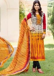 Casual Wear Yellow Pashmina Printed Churidar Suit