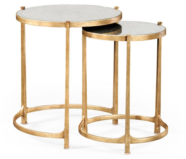 Églomisé & gilded iron round nest of two tables; jonathancharlesfurniture.com