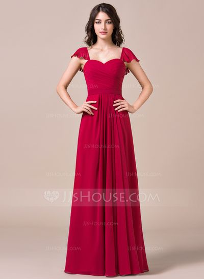 A-Line/Princess Sweetheart Floor-Length Chiffon Bridesmaid Dress With Cascading Ruffles (007057717)