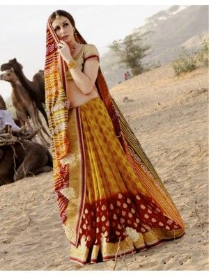 Yellow And Red Georgette Bandhani Saree