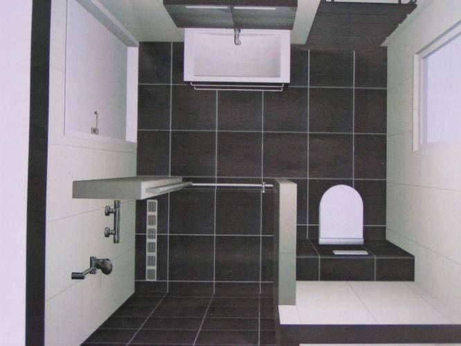 plattegrond badkamer met inloopdouche en toilet