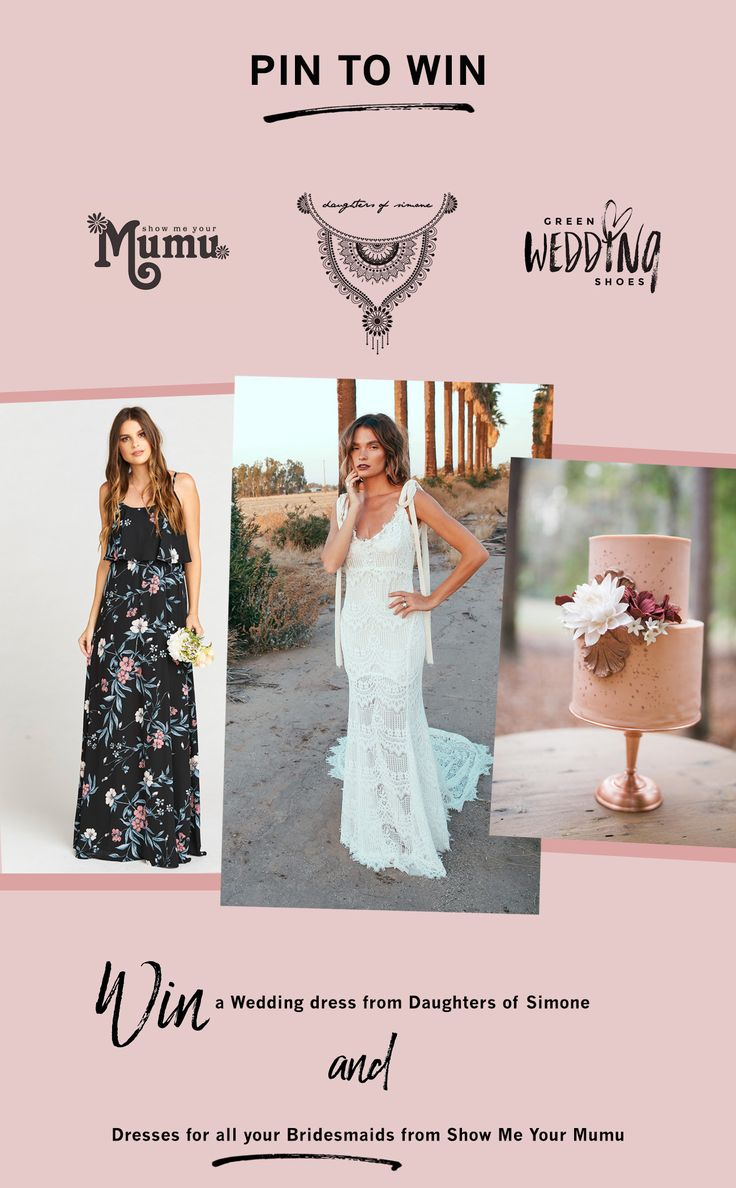 MAJOR GIVEAWAY ALERT!  We partnered for an amazing giveaway today you guys!! Win a WEDDING DRESS from Daughters of Simone + BRIDESMAID DRESSES for ALL your gals from Show Me Your Mumu!! Get the scoop and enter to win here!