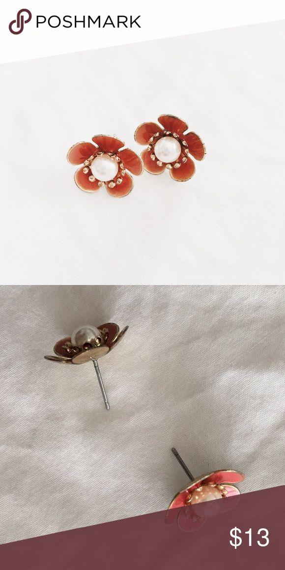 Orange Fall Stud Earrings Less than an inch big 🍁 cute fall flower  earrings! Can use any earring backs 🍂 Jewelry Earrings