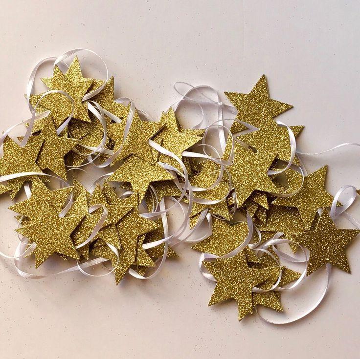 Glitter Gold Stars Garland!