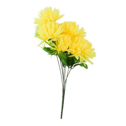 Decoratiuni - Fir crizantema artificiala, 47 cm, galben fosforescent la numai 8.00 RON