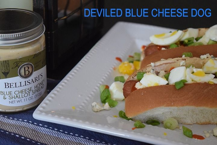 Spread Bellisari's Blue Cheese Honey and Shallot Spread on your dog and garnish with chopped hardboiled egg, diced green onion and Sriracha.