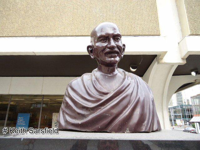 The Bust of MAHATMA GANDHI (E. of Stanley Milner Library)