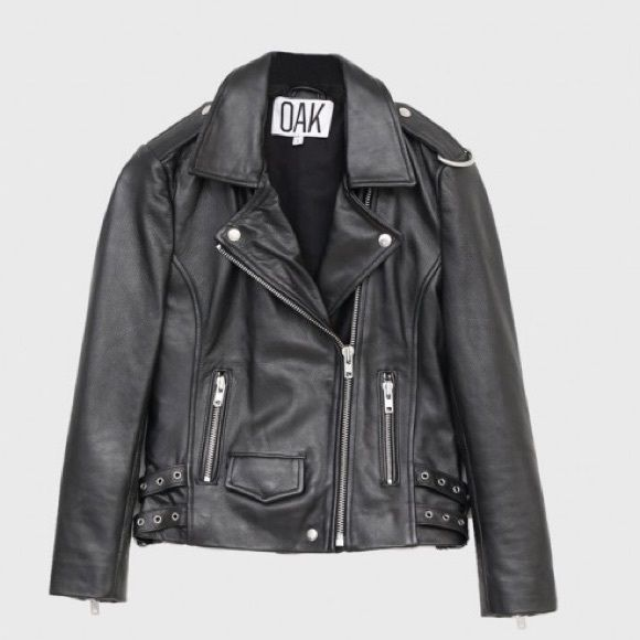 Oak NYC REAL Leather Moto Jacket XS NWT Oak NYC 100% REAL Leather Jacket XS.  100% Cotton Lining.  Very fitted.  Cool Brooklyn brand, timeless piece.  Zoe Kravitz shops here! Oak NYC Jackets & Coats