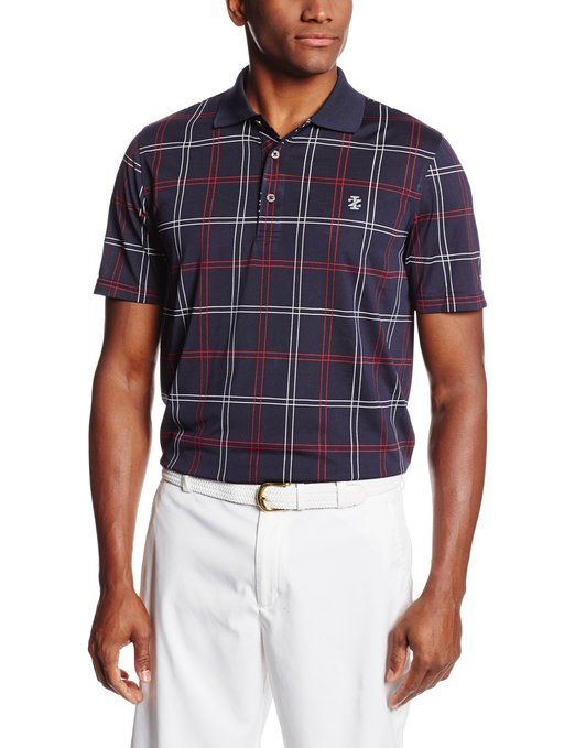 Offering UV sun protection and moisture wicking properties this mens short sleeve jacquard golf polo shirt by Izod is a perfect addition to any mans wardrobe