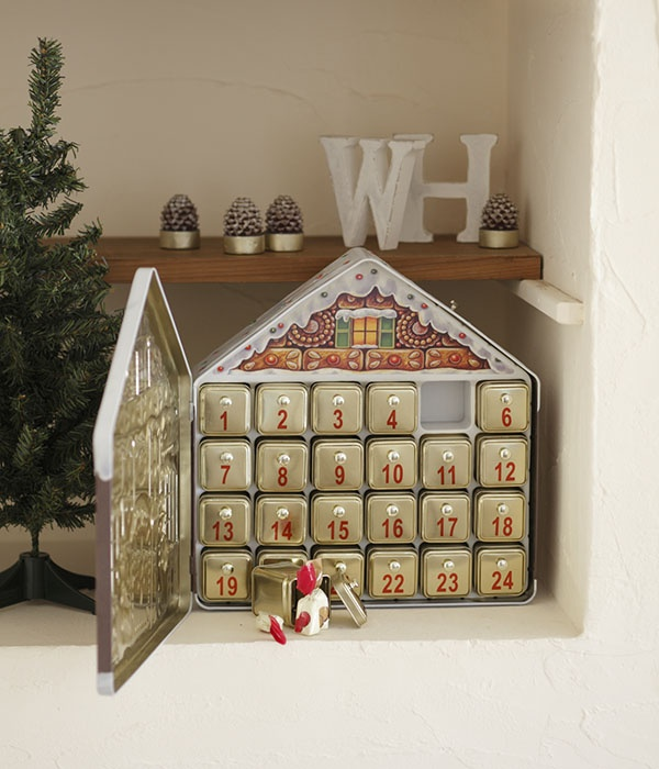 日付のついた窓をあけるとおもちゃやお菓子が入ったアドベントカレンダー。/手軽に作れる、クリスマス雑貨(「はんど&はあと」2012年12月号)