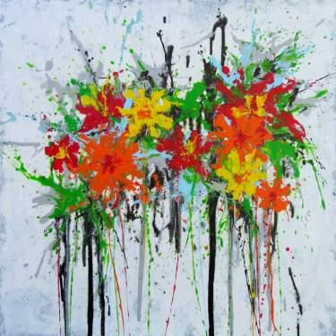 """Saatchi Art Artist Isabelle Pelletane; #Painting, """"Flory"""" #art #abstractart #expressionism #contemporary #collector #artlovers #happy #colorful #poppy #flowers #garden"""