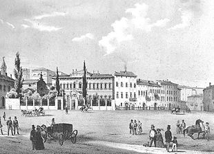Verona - piazza Cittadella in una litografia del 1850 circa