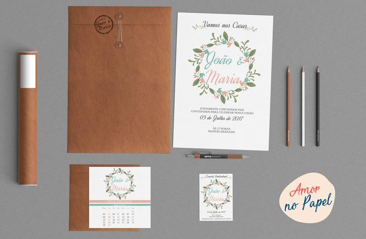 Modelo convite de casamento. Com save the date, convite individual e arte para carimbo.  compre aqui: http://produto.mercadolivre.com.br/MLB-889627581-coleco-casamento-diy-_JM