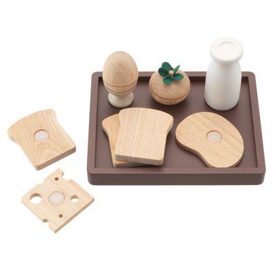 無印良品。木のおままごとセット。 木製玩具 朝食・トレーセット
