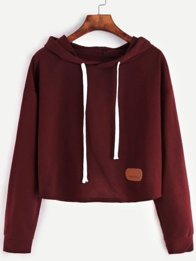 Red Patch Crop Hooded Sweatshirt
