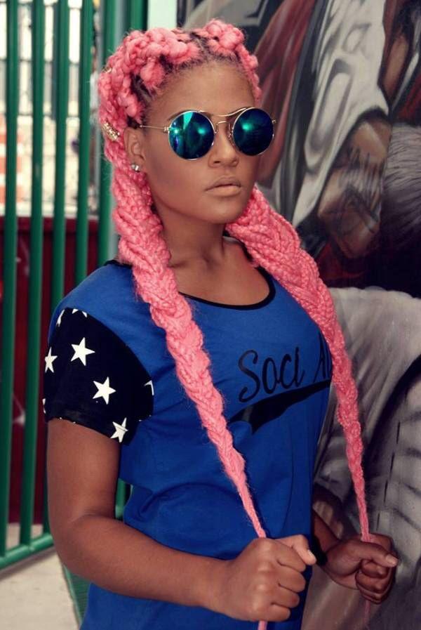 pink box braids.
