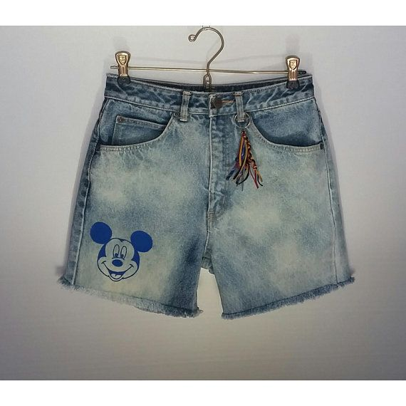 Mickey Mouse High Waisted Acid Wash Denim Jean Shorts Disney Boho Waist Size 26 Womens Girls Cut Offs Etsy shop https://www.etsy.com/ca/listing/591809200/mickey-mouse-high-waisted-acid-wash