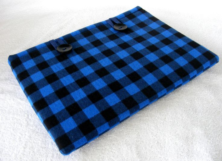 """11 Inch MacBook Cover, IPad Pro 12.9 Cover, MacBook Air Cover, IPad Pro Cover, Surface Pro Case, Blue Buffalo Plaid, 12 1/4"""" x 8 3/4"""" by LindaLeasBoutique on Etsy"""