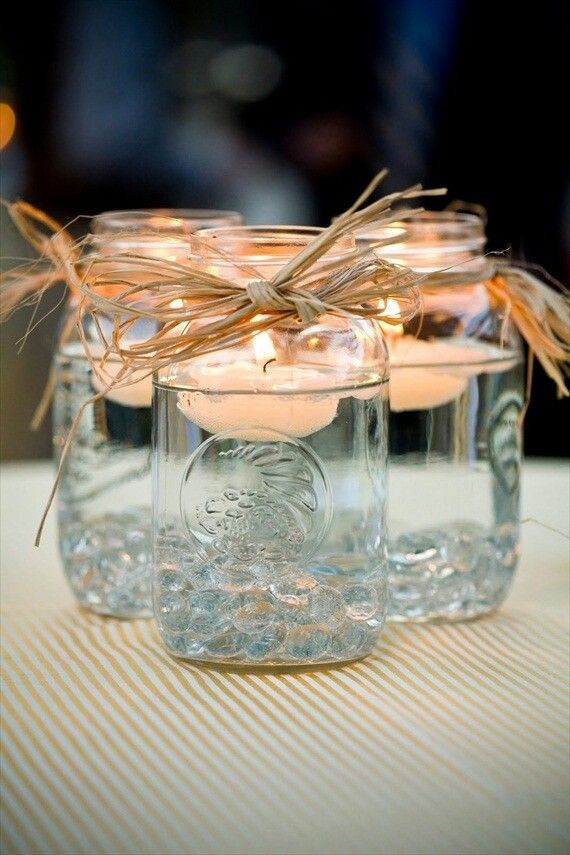 Candles on water: mason jars